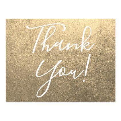 Metallic Platinum Gold Thank You Postcard In 2018 Wedding Thank