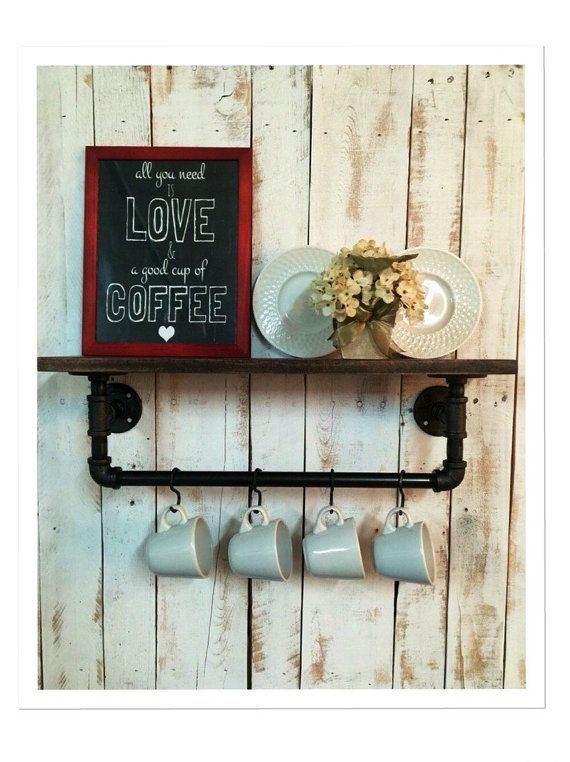Industrial kitchen shelf Rustic kitchen by countrycornergoods
