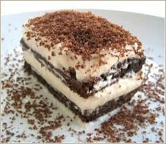 400 g sponge finger biscuits, 500 g mascarpone, 4 eggs, 120 g sugar,unsweetened cocoa powder.  1)prepare coffee and pour it in a large plate, 2)whip egg yolks and 1/2 sugar  3)add mascarpone; 4)whip albumen & add the remaining amount of sugar; 5) mix the albumen cream + mascarpone cream> Tiramisu cream. Dip biscuits into  coffee.Take a pan and apply a first layer of tiramisu cream. Then biscuits,cream,biscuits .. When u get to the last layer dust it with cocoa powder. Into the fridge for 2…