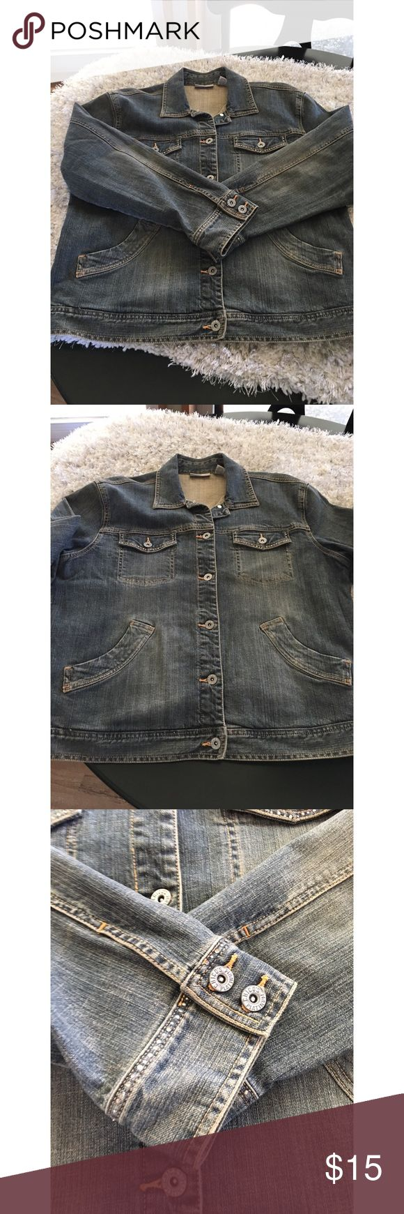 Chico's Platinum Denim Jacket Size Large Denim Jacket by Chico's Platinum.  Classic style.  Medium blue rinse color.  Chico's size 2, which is a large.  See size chart.  Good condition.  Important:   All items are freshly laundered as applicable prior to shipping (new items and shoes excluded).  Not all my items are from pet/smoke free homes.  Price is reduced to reflect this!   Thank you for looking! Chico's Jackets & Coats Jean Jackets