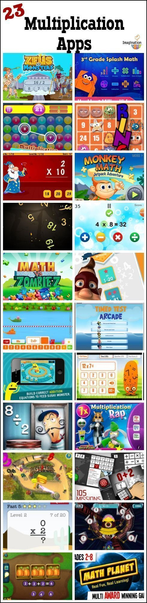 23 multiplication apps for kids - lots of these are free! #teachingkidsmath #mathlessons #mathgames