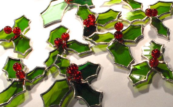 Stained glass Christmas Decoration  Holly by ScottishHandCrafts, £5.00