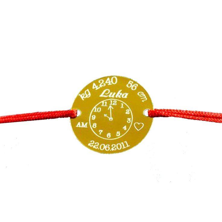 BIRTHDAY CLOCK - bratara personalizata din aur cu banut gravat cu nume, data nasterii si an.