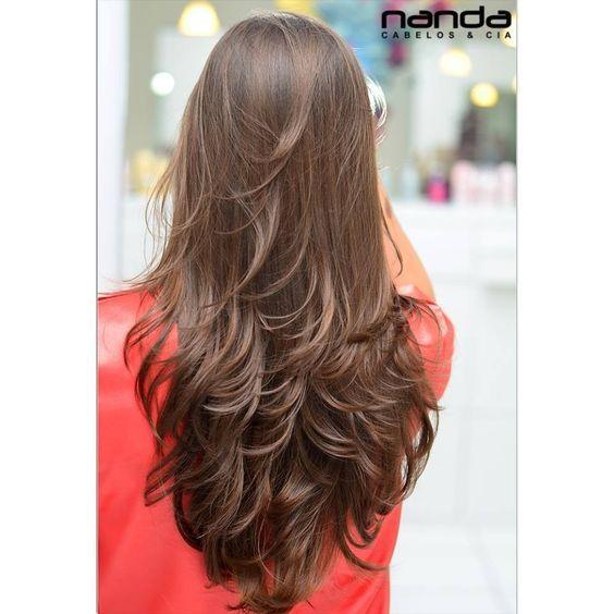 Resultado de imagem para cabelo longo repicado com franja