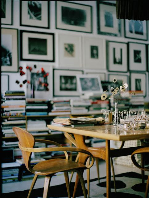 gallery wall, chairs, table, library, dining,