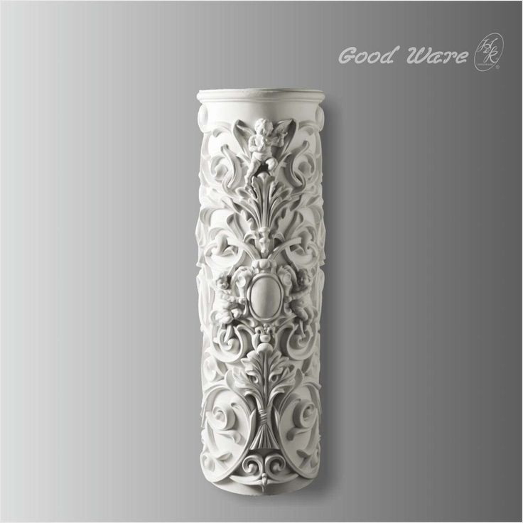 Polyurethane decorative roman columns for sale, 27-3/4''H X 8-7/8''D in size. This decorated column can be compatible to any pillar with a radius of 20''.
