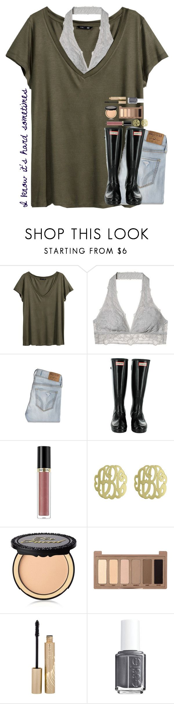 """""""I know it's hard sometimes"""" by theafergusma ❤ liked on Polyvore featuring H&M, Victoria's Secret, Hollister Co., Revlon, Initial Reaction, Too Faced Cosmetics, Urban Decay, Stila and Essie"""