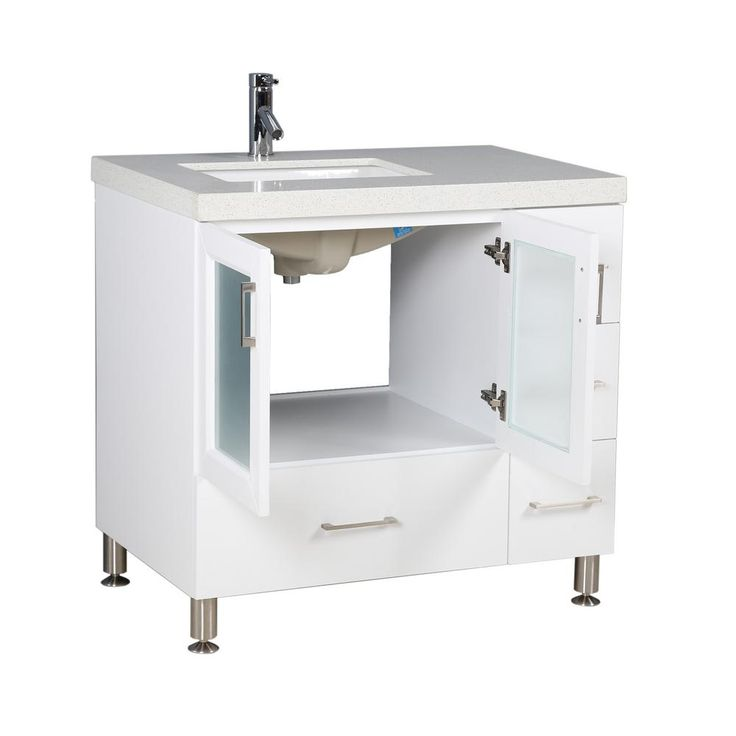 Design Element Westfiled 36 in. W x 22 in. D Vanity in White with Quartz Vanity Top in White with White Basin