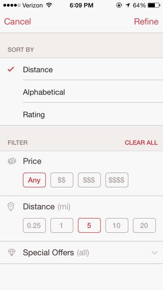 OpenTable - search customization