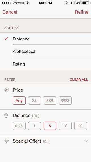OpenTable App filtering
