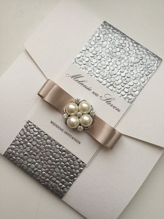 Pocketfold suite de invitación de la boda, invitación de plata, abrigo invitación - estilos diferentes de la invitación