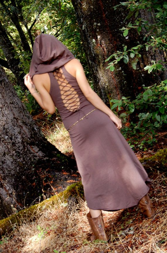 Dresses Pagan Wicca Witch:  The Nienna #Dress with Open Back and Big Elf Hood In, by ZhenNymph.