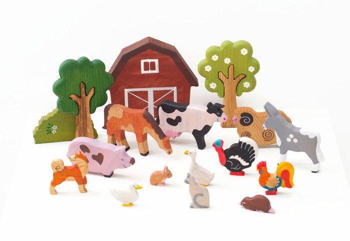 Farm Animals Toy Set (13pcs) Waldorf toys Wooden animals Waldorf nature table Animal figures barnyard animal toys 1/64 farm toys by WoodenCaterpillar on Etsy https://www.etsy.com/listing/244296578/farm-animals-toy-set-13pcs-waldorf-toys