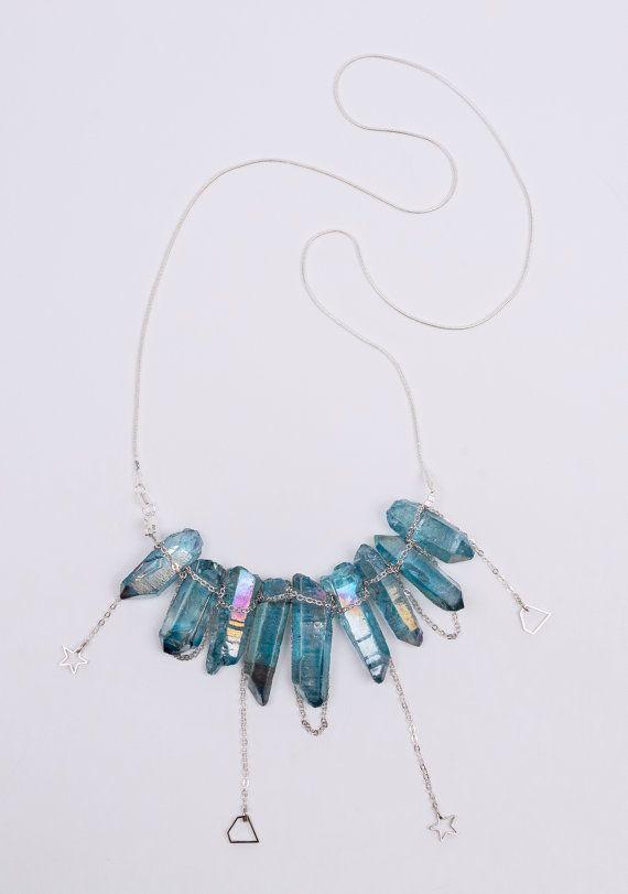 Blue quartz necklace silver necklace silver by ErikaKormaDesigns