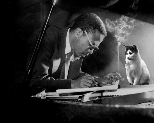 Thelononius Monk & his cat. I saw a documentary on him and it was so very interesting!