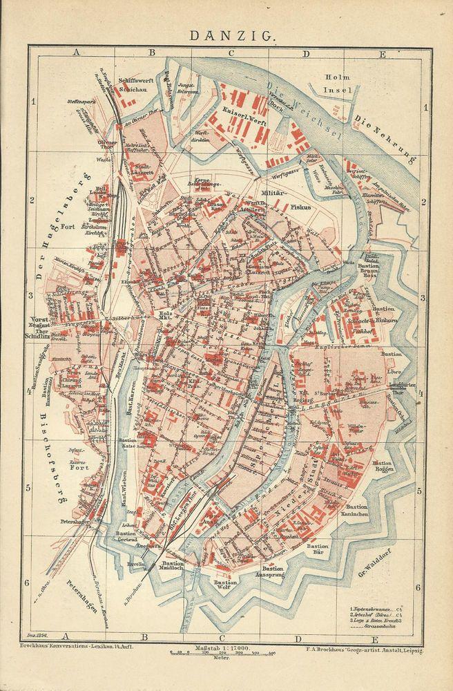 1894 Danzig Stadtplan Landkarte Karte Lithographie Old City Map Alter Druck
