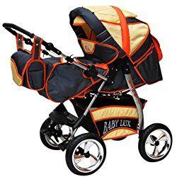 Lux4Kids King 2 in 1 Pram Combi Stroller & Pushchair (rain cover, mosquito net, beverage tray, mattress, changing mat) Grafit & Vanille & Orange