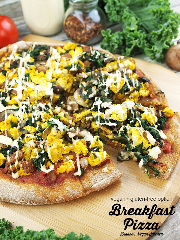 Vegan Breakfast Pizza Topped With Vegetables Tofu Scramble And Tempeh Bacon I In 2020 Vegan Breakfast Pizza Vegan Breakfast Pizza Recipe Breakfast Brunch Recipes