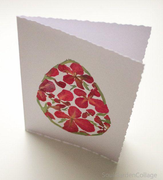 Uovo di Pasqua di OOAK Pasqua saluto carta fiori pressati arte botanico arte collage di fiori di carta cartolina d'auguri A6 Pasqua