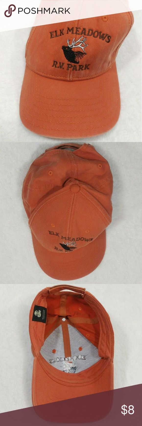 Vintage Retro Distressed Orange Baseball Cap Hat Vintage cap by Cobra.  It is an orange hat with an embroidered image of a deer on the front with the words Elk Meadows RV Park embroidered around it.  On the side the hat it says Trout Lake WA.  It has authentic light distressing to it with wear to some areas and discoloration. Some shown.  It is adjustable with it's Velcro strap on the back.  Is a mishaped, but should get better with wear.  One size fits all. Vintage Accessories Hats