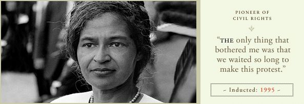 Rosa Parks was an  unknown seamstress living in Montgomery Alabama.  It was her brave refusal to give up her bus seat to a white passenger in 1955 that marks the beginning of the US Civil Rights movement, and, many would say the move to full equality of black with white citizens in the US