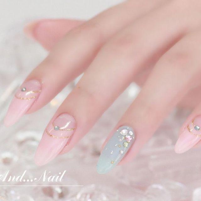 pink mint blue nail art