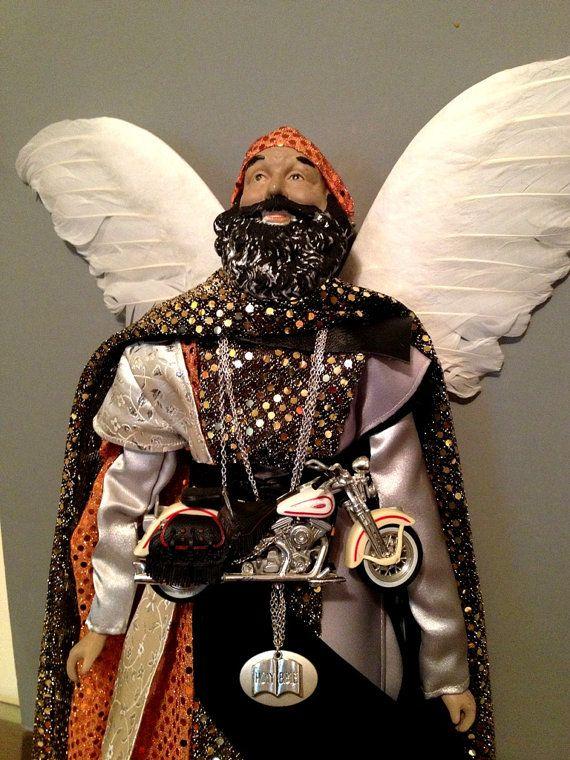 Male Angel Man Christmas Angel Motorcycle by Divineangelshop, $165.00