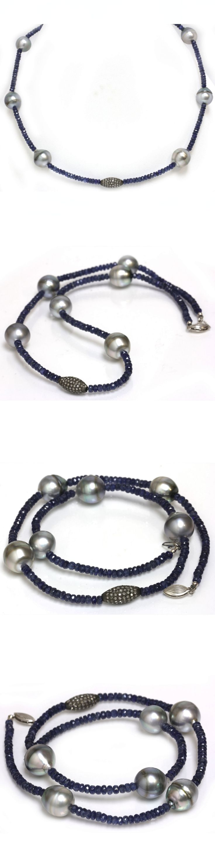 Pearl 164333: Diamond Tahitian Pearl Sapphire Necklace 14Kt White Gold Clasp 18 1 2 -> BUY IT NOW ONLY: $750 on eBay!