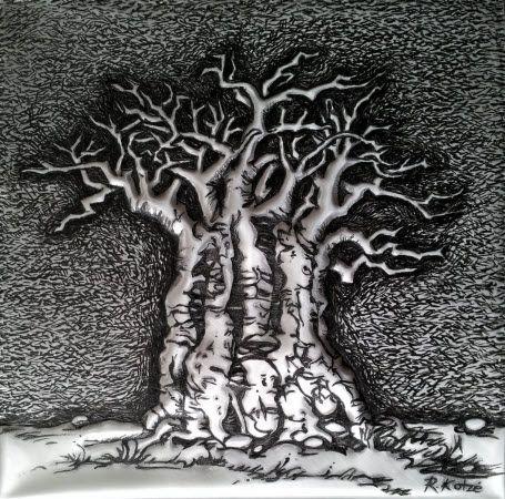 PM363 The Big Old Baobab Tree in Metal by Rheta-Mari Kotze.  Original, one of a kind Aluminium Flashing Wall sculpture. Art size: 170/170/10 mm deep.  Framed. Available    #buyartonline #fineartforsale #metalart #tree #art #sculpture #BaobabTreeSculpture #AfricanArt #decor #wallSculpture #silverart #AluminiumFlashingSculpture #maleart #mancavedecor