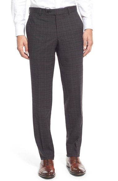 TED BAKER Flat Front Plaid Stretch Wool Trousers. #tedbaker #cloth #