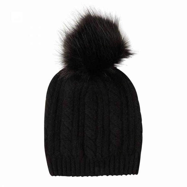 Laycuna London Black Cashmere Cable Knit Faux Fur Bobble Hat