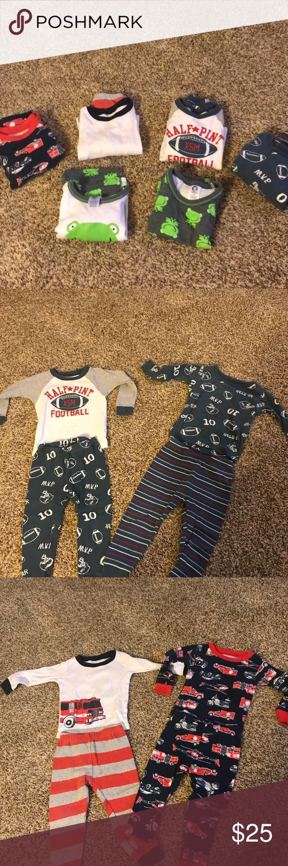 Lot of 6 18 mo boy Jammie's Used, but in good condition (spot shown) jammies. I use only natural/organic laundry detergent. Smoke and pet free home! Purchased at Carters and Target (frog jammies are Target, rest is carters) let me know if you have any questions! Carter's Pajamas Pajama Sets