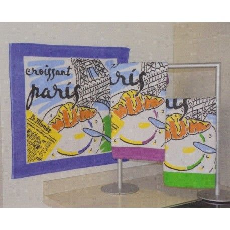 Paño de cocina París. Paños de cocina Paris de Trovador. Diseño estampado con un desayuno muy parisino. Tejido composición 100 % algodón. Colores: Morado, Verde y Azul.