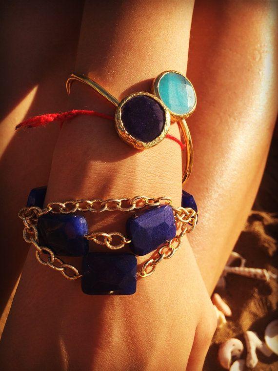 Splendid chain bracelet with lazurite от Monamibijoux на Etsy