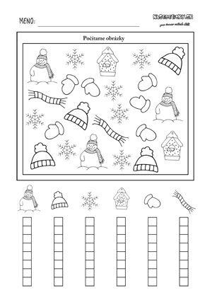 Zimný pracovný list pre deti - počítame zimné obrázky