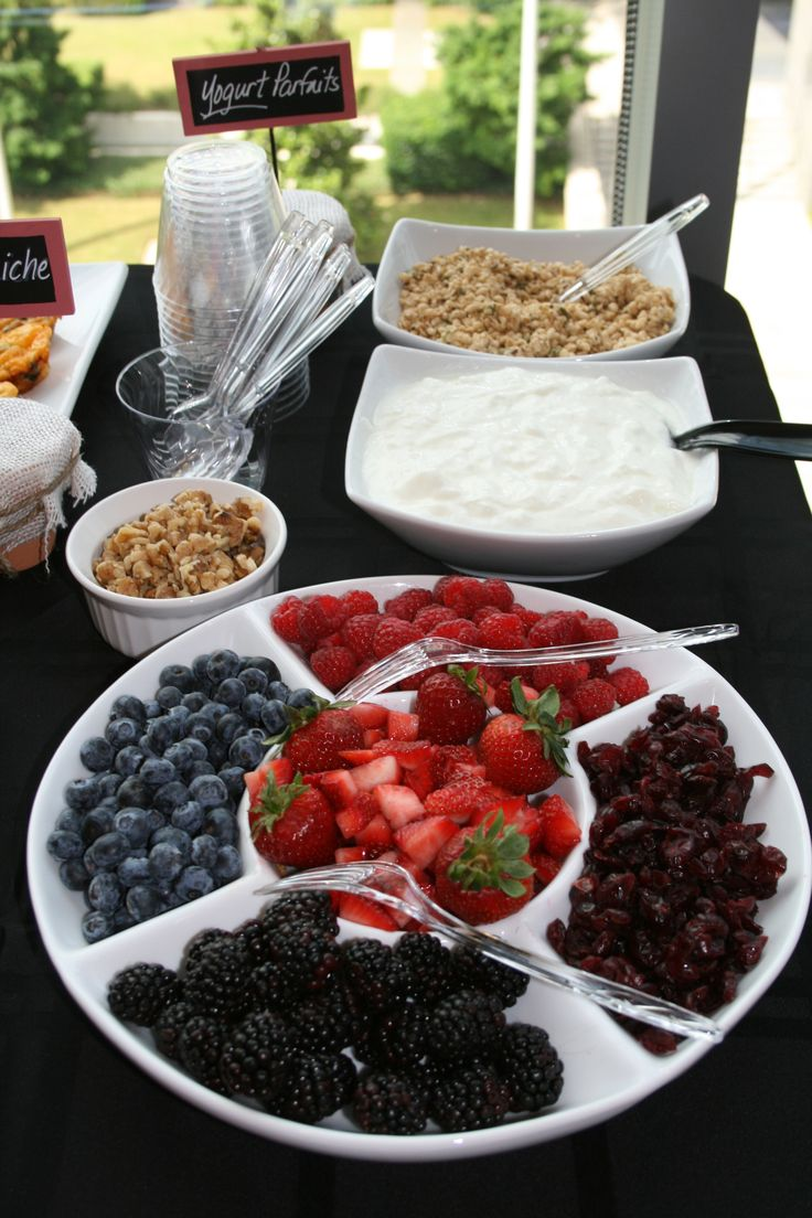 Yogurt Bar Brunch. So doing this.  Buy granola at sprouts, fruit at Costco