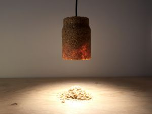 SPÅN - lamp made from compressed saw dust and adhesive.