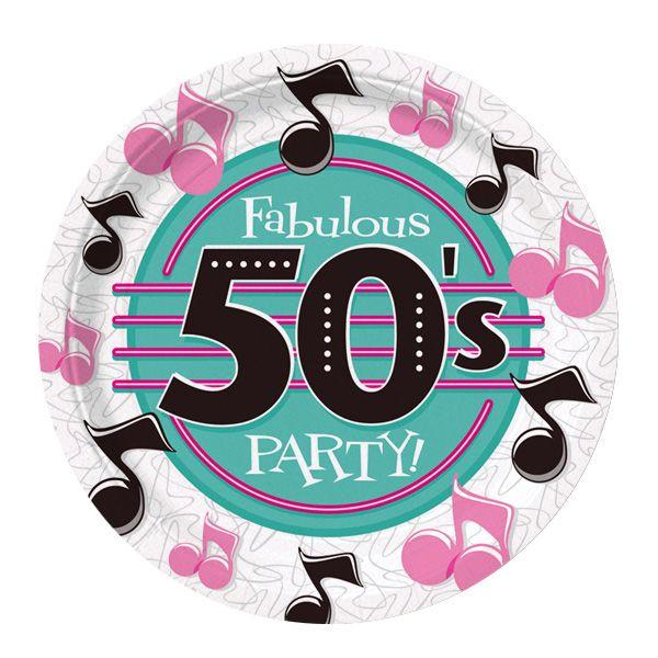 Menaje desechable, ideal para una fiesta años 50 / Disposable tableware, ideal for a 1950s party