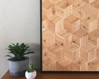Arte de pared de madera Natural recuperada por ReachandGrow en Etsy