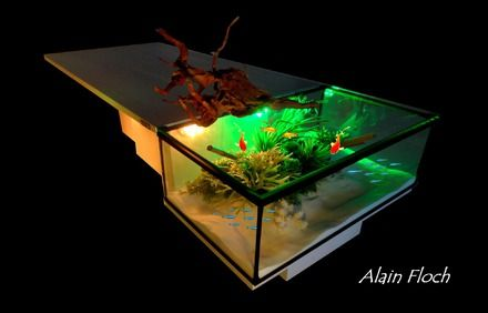 Table basse ALONG aquarium sans fil