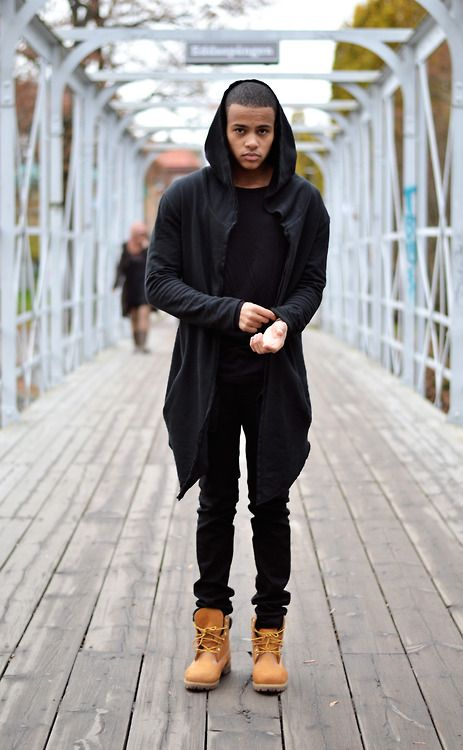 Love the all black with Timberland boots.