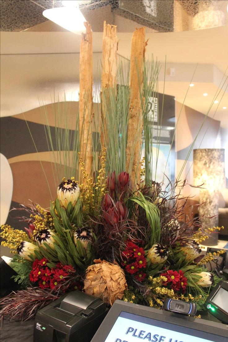 Bush themed Large Corporate floral arrangement. Created by Poppies and Peas Floral Design