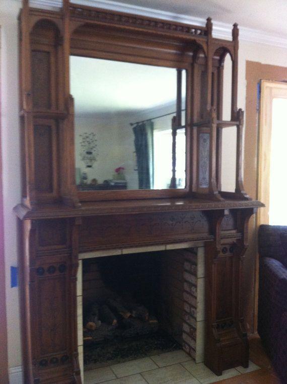 1920 S Victorian Style Vintage Fireplace Mantel Vintage