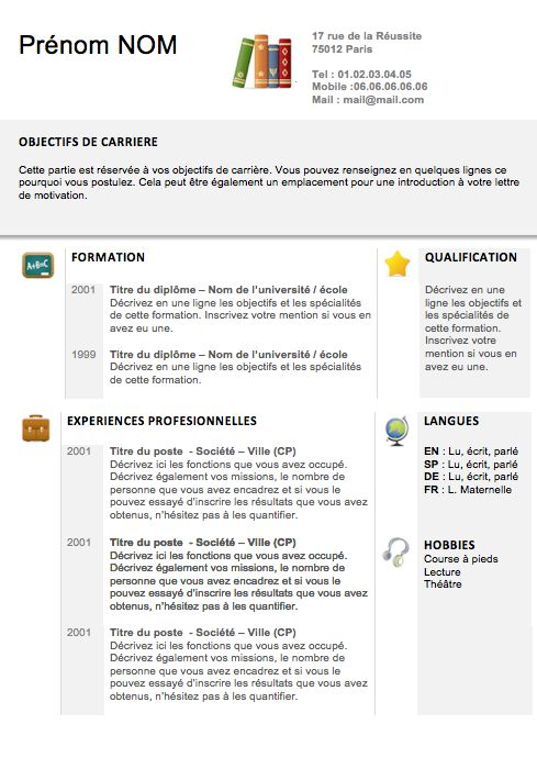 19 best cv exemples images on pinterest organization curriculum cv professeur cole formation yelopaper Choice Image