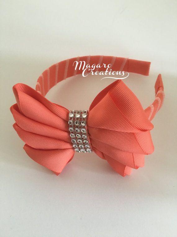Coral headbandbow headbandgirl headbandheadband by MagaroCreations
