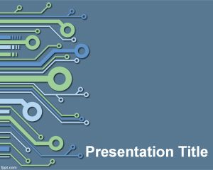 Electronic PowerPoint Template is a blue template for PowerPoint presentations with electronic background effect to be used in presentations for technology projects