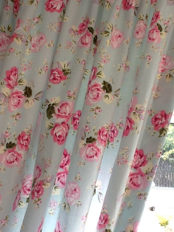 Beautiful Vintage Rose Style Sea Blue/green Shabby Chic Curtains