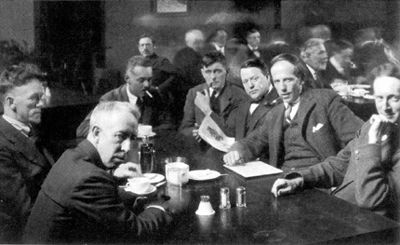 Group of Seven Members: Franklin Carmichael, Lawren Harris, A.Y. Jackson, Franz Johnston, Arthur Lismer, J.E.H. Macdonald, and F.H. Varley. Tom Thomson died in 1917 before the group was formed.