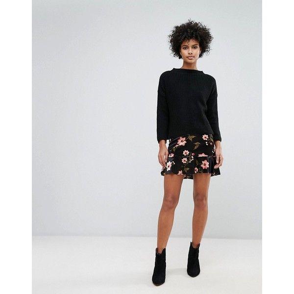Vero Moda Floral Frill Hem Mini Skirt (£24) ❤ liked on Polyvore featuring skirts, mini skirts, black, short floral skirt, high-waisted skirts, high waisted short skirts, peplum skirt and floral print mini skirt