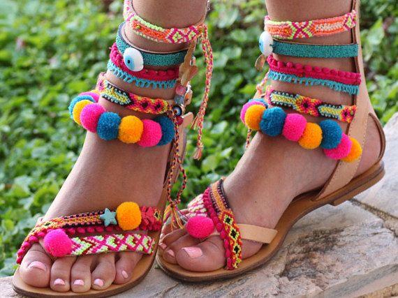 SALE 50% OFF Pom Pom 'Let it Be' Festival Sandals